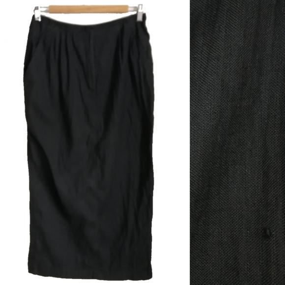 Vintage Dresses & Skirts - JC Poitras Black Shiny Straight Maxi Skirt, sz 12